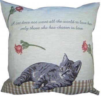Gobelin Kussen Kitten grijs beige