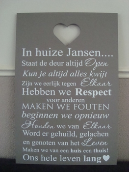 Tekstbord in huize...